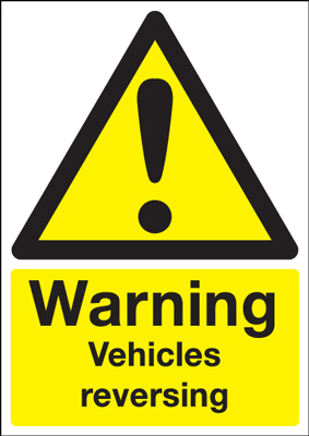 A5 warning vehicles reversing self adhesive vinyl labels.