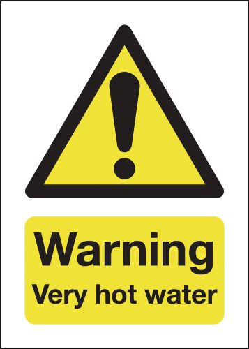 70 x 50 mm Warning Very Hot Water  Safety Labels