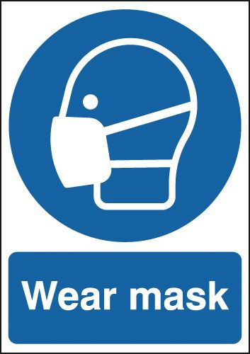 UK PPE signs - A3 wear mask window cling