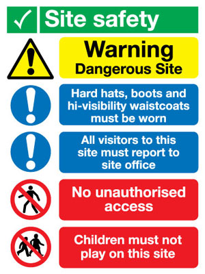 800 x 600 mm site safety all visitors must 3mm polypropene plastic