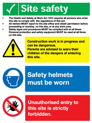 800 x 600 mm site safety legal text self adhesive vinyl labels.