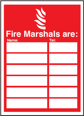 327 x 240 mm fire marshals are (space for