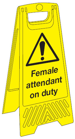 680 x 300 mm female attendant on duty