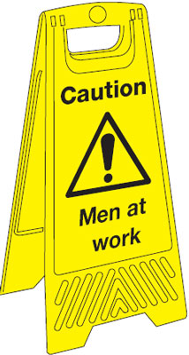 680 x 300 mm caution men at work