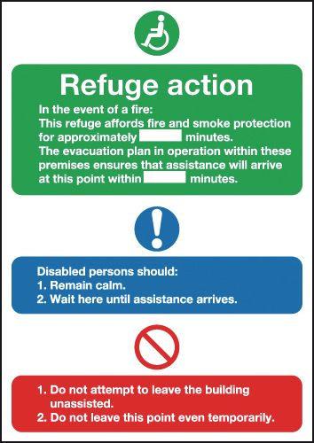 300 x 250 mm evacuation for disabled people 1.2 mm rigid plastic signs with self adhesive backing.