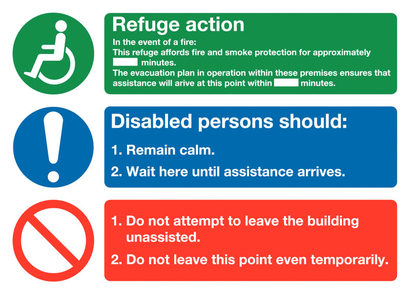250 x 350 mm evacuation for disabled people 1.2 mm rigid plastic signs with self adhesive backing.
