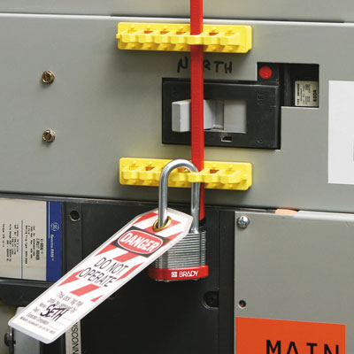 Lockout equipment - red blocking bar for breaker lock out red