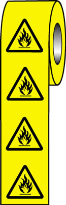 25 x 25 flammable symbol signs.