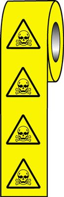 roll of 250 50 x 50 toxic hazard symbol sign.