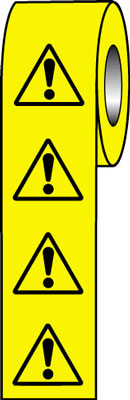 roll of 250 50 x 50 general hazard symbol sign.