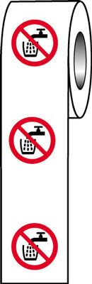 roll of 250 40 x 40 do not drink symbol sign.
