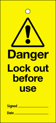 Uk lockout signs - 200 x 100 mm lock out before use
