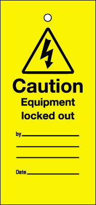 Uk lockout signs - 200 x 100 mm equipment locked out