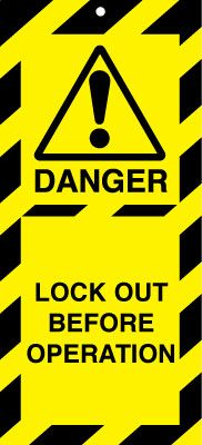 Uk lockout signs - 50 x 110 lock out before operation