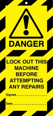Uk lockout signs - 50 x 110 lock out this machine before