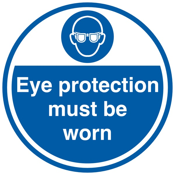 300 x 500 mm eye protection must be worn anti slip self adhesive label