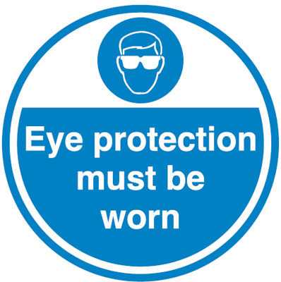 450Diameter eye protection must be worn anti slip self adhesive label