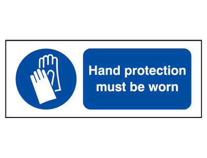 UK fire escape signs - 100 x 250 mm hand protection must be worn face adhesive vinyl