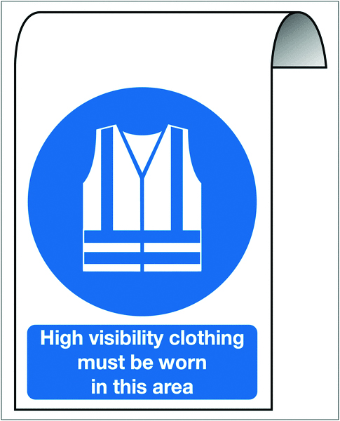 500 x 300 mm high visibility clothing must be 2 mm dibond brushed steel effect sign.