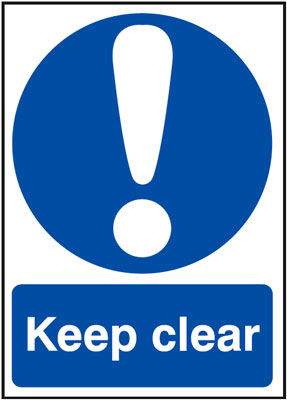 UK fire escape signs - A5 keep clear face adhesive vinyl