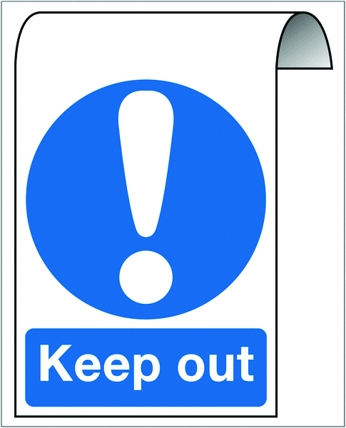 500 x 300 mm keep out 2 mm dibond brushed steel effect sign.