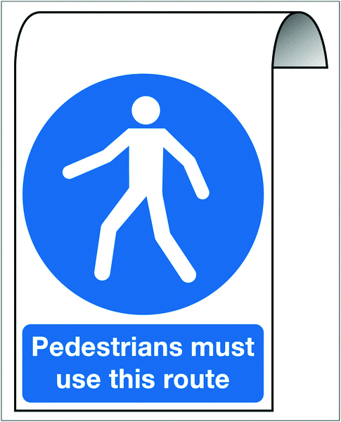 500 x 300 mm pedestrians must use this route 2 mm dibond brushed steel effect sign.