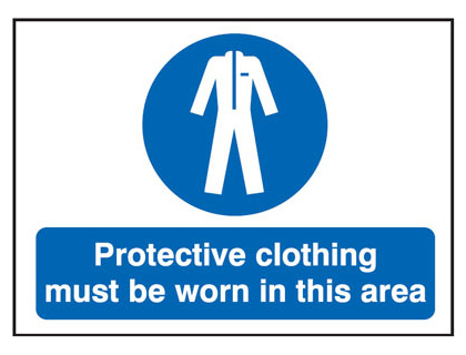 UK fire escape signs - 450 x 600 mm protective clothing must be worn 2 mm foamed plastic