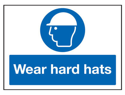 UK PPE signs - 450 x 600 mm wear hard hats 2 mm foamed plastic