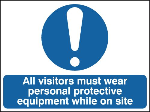 UK PPE signs - 250 x 350 mm all visitors must wear personal self adhesive vinyl labels.