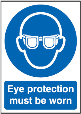 UK fire escape signs - 400 x 300 mm NG eye protection must be worn nite glo self adhesive class B