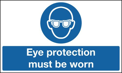 UK fire escape signs - 100 x 250 mm eye protection must be worn aluminium 0.9 mm