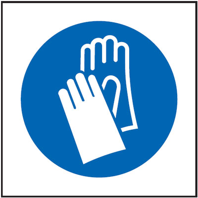 UK mandatory signs - 150 x 150 mm gloves symbol self adhesive vinyl labels.