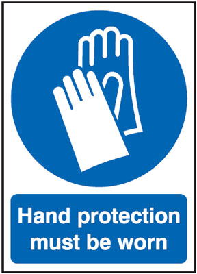 UK fire escape signs - 400 x 300 mm NG hand protection must be worn nite glo self adhesive class B