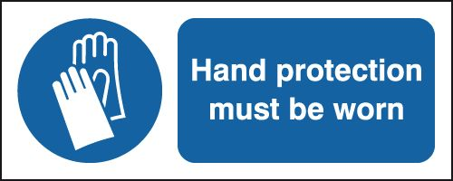 UK fire escape signs - 100 x 250 mm hand protection must be worn aluminium 0.9 mm