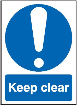 UK fire escape signs - 250 x 200 mm keep clear deluxe high gloss rigid plastic 1 mm sign