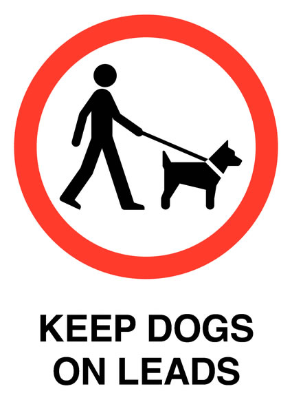 Prohibition signs - A5 keep dogs on leads self adhesive vinyl labels.