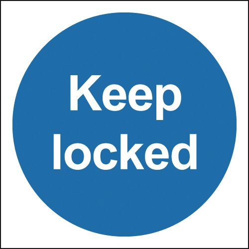 100 x 100 mm keep locked deluxe high gloss rigid plastic 1 mm sign