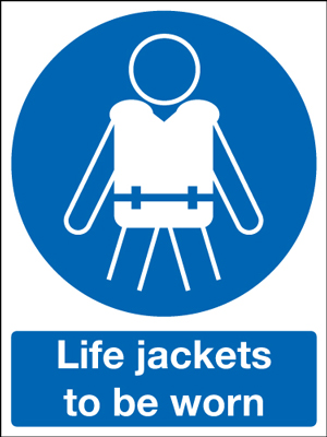 400 x 300 mm life jackets to be worn 1.2 mm rigid plastic signs.