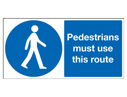 UK pedestrian labels - 100 x 250 mm pedestrians must use this route self adhesive vinyl labels.