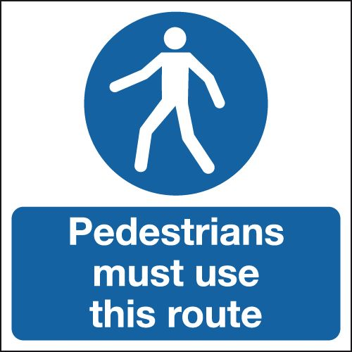 UK pedestrian labels - 450 x 450 mm pedestrians must use this route self adhesive vinyl labels.