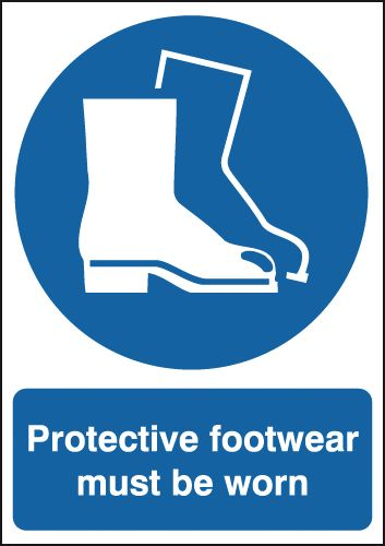 UK PPE signs - A5 protective footwear must be worn self adhesive vinyl labels.