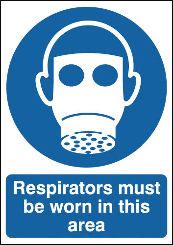 400 x 300 mm NG respirators must be worn in nite glo plastic class B 1.2 mm