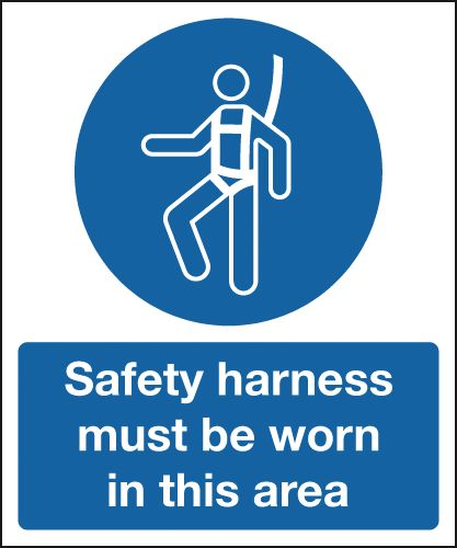 UK mandatory signs - 150 x 125 mm safety harness must be worn in 1.2 mm rigid plastic signs.
