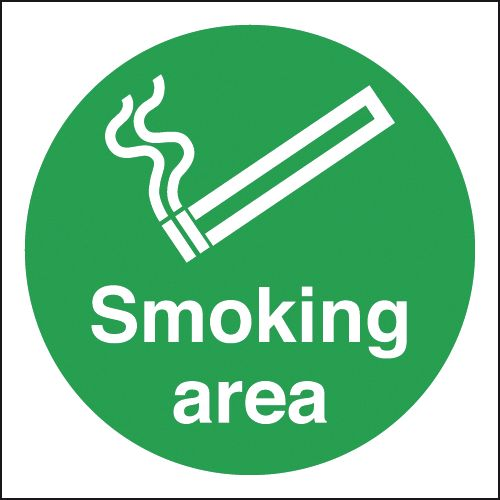 UK smoking signs - 100 Diameter smoking area labels self adhesive vinyl labels.
