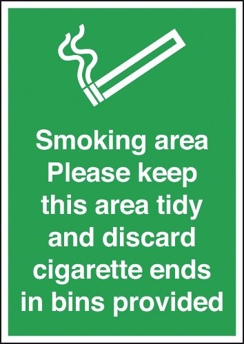 UK smoking signs - A5 smoking area labels please keep this area self adhesive vinyl labels.