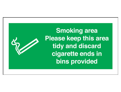 UK smoking signs - 50 x 100 mm smoking area labels please keep this self adhesive vinyl labels.