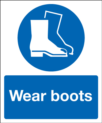 UK PPE signs - 300 x 250 mm wear boots self adhesive vinyl labels.