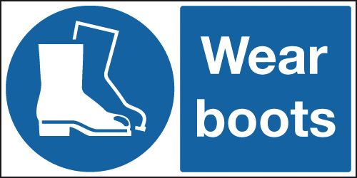 UK PPE signs - 100 x 250 mm wear boots self adhesive vinyl labels.