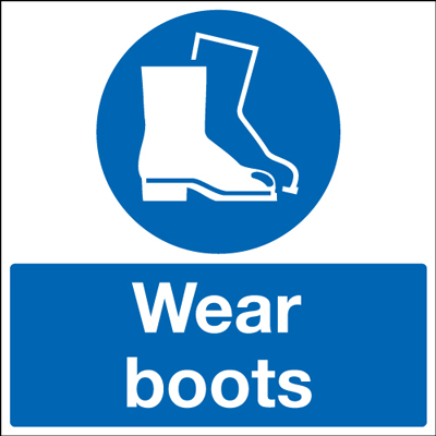 UK PPE signs - 450 x 450 mm wear boots self adhesive vinyl labels.