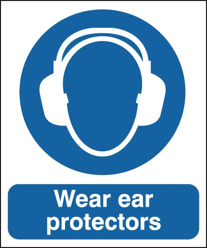 UK PPE signs - 350 x 250 mm wear ear protectors 1.2 mm rigid plastic signs.
